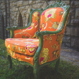 <h5>Orange & Antique Green Chair</h5>