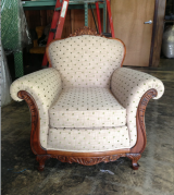 <h5>Polka Dot Carved Wooden Armchair</h5>
