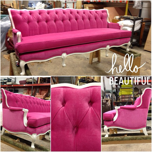 7′ Pink Tufted Sofa