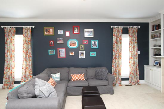 A Colorful Playroom With A Deep Navy Focal Wall