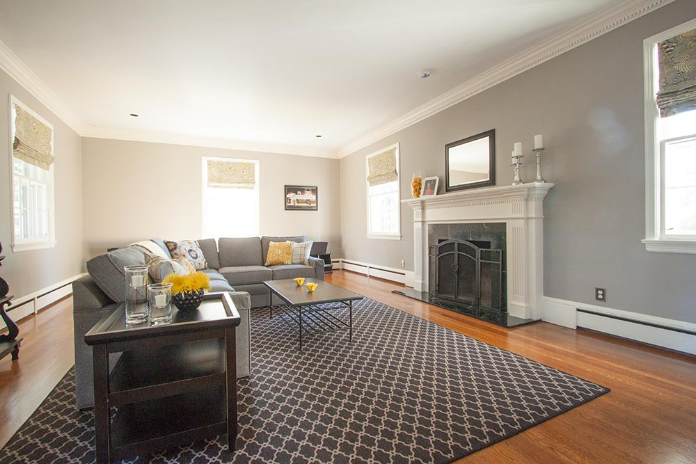 Grey and yellow family room.
