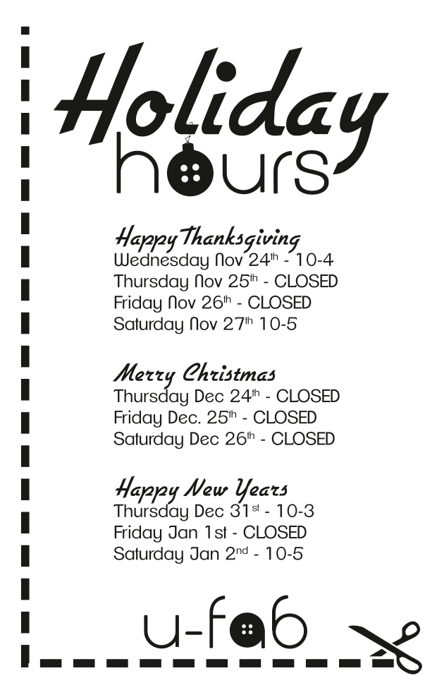 2015 Holiday Hours